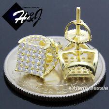 MEN 925 STERLING SILVER 7X7MM LAB DIAMOND ICED GOLD SCREW BACK STUD EARRING*G110