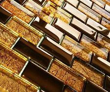 NEW LUXURY COPPER GOLD METAL FOIL GLASS BRICK RECTANGLE MOSAIC WALL TILES 8MM
