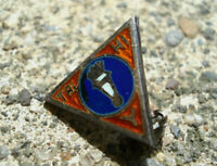 STERLING SILVER Vtg YWCA Lapel Pin TRY HI Y Enamel TORCH FLAME Mini Antique