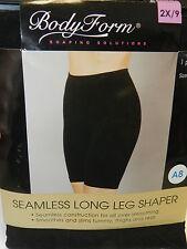 Body Form Seamless Long Leg Shaper 2x/9 Black