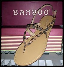 NEW! Bamboo Warner-44 Women's LEOPARD Fashion RHINESTONE Sandal sz 7.5 Free SHIP