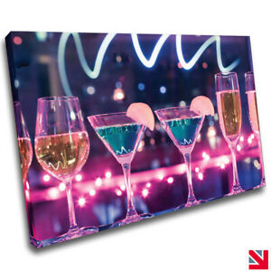 Drink Alcohol Cocktail Kitchen Bar CANVAS Wall Art Picture Print A4