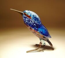 "Blown Glass ""Murano"" Blue and Red KINGFISHER Bird Figurine"