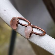 Natural Rose Quartz Gemstone Statement Woman Fashion Design Stackable Ring 1pc