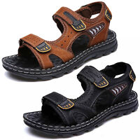 Men's Leather Sandals Fisherman Adjust Strap Casual Open Toe Hiking Beach Shoes