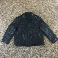 Tommy Hilfiger Men Sz L Black Leather Coat Motorcycle Jacket Outerwear Bomber