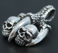 HEAVY DRAGON SNAKE CLAWS SKULL HEAD 925 STERLING SOLID SILVER MENS BIKER PENDANT