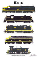 """Erie Railroad Black & Yellow Locomotives 11""""x17"""" Poster by Andy Fletcher signed"""