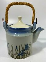 "Vintage Teapot Wild Iris Blue Wicker Handle 7"" Tall (Handle Not Measured!)"