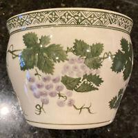 "6"" Green & White Porcelain Fishbowl light Purple Grapes & Leaves"