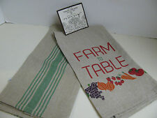 Artistic Accents Kitchen Towels - FARM to TABLE - Set of 2 - New