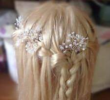 Wedding Hair pins Ivory Wire Bridal Babys Breath 3 pcs Prom Boho holy communion