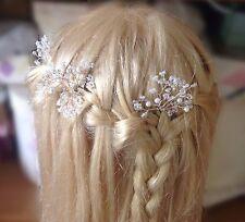 Wedding Hair bun pins/grips,baby's breath, gypsophila, ivory wire,pearls crystal