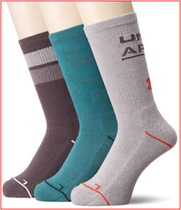3 Pairs- Under Armour Phenom 4.0 CREW Socks Wicks Large Taupe Green Gray 🌟NEW🌟
