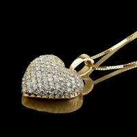 2.00 Ct Round Cut Diamond 14K Yellow Gold Over Womens Cluster Heart Pendant