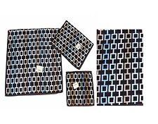 3 DOMAIN Brown Geometric Square Chain Velour Bath Hand Wash Cloth Towels NWT