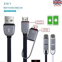 2 in1 Micro USB Sync Data Charging Cable For Iphone 5/C/S/6 Android HTC Samsung