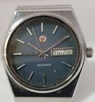 SWISS WATCH RADO VOYAGER AUTOMATIC DAY-DATE BLUE DIAL VINTAGE- MEN'S 17 JEWELS