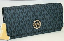 New Michael Kors Fulton Flap Large Continental Leather MK Signature Wallet Navy