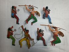 Konvolut 7 alte Elastolin Kunststoff Figuren Wildwest Indianer Reiter zu 7.5cm