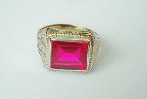 Vintage Men's Art Deco Ruby Ring 14k Yellow Gold Size 10