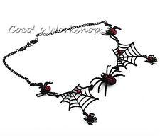 Negro 3d Rojo Diamante Spider & Web Collar Funky HALLOWEEN TRAJE JOYERÍA De Regalo