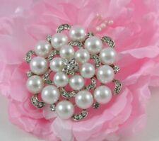& Rhinestone Crystal Flower Brooch Large Silver Plated White Faux Pearl