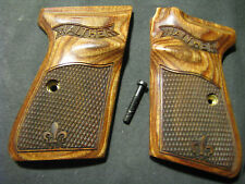 Walther PPKS PPK/S S&W Walnut Checkered Pistol Grips Fleur-De-Lis WITH LOGO!