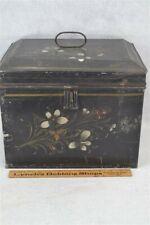 antique tin storage document box large 13x9x11 toleware painted original 19th c
