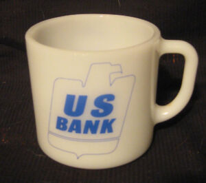 VINTAGE VIP US BANK MILK GLASS COFFEE MUG ANCHOR HOCKING