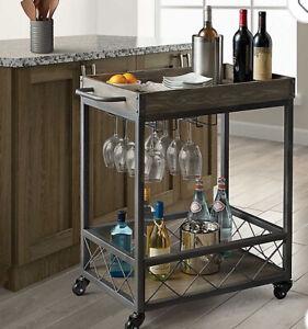 Modern Farmhouse Bar Cart Gray Grey W Two Tiers For Extra Storage