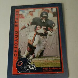 """Vintage Neal Anderson Chicago Bears Green Leaf Puzzle Postcard 3.5"""" x 6.5"""""""