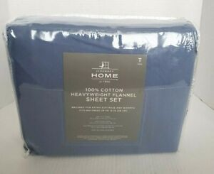 JC penny Home 100% Cotton Heavyweight Twin Flannel Sheet Set New
