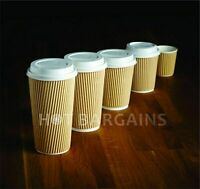 200 X 12OZ DISPOSABLE COFFEE CUPS RED KRAFT PAPER CUPS + 200 LIDS FOR FREE