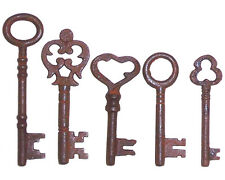 ANTIQUE 1800'S STYLE  IRON SKELETON KEYS LOT OF 5 - A