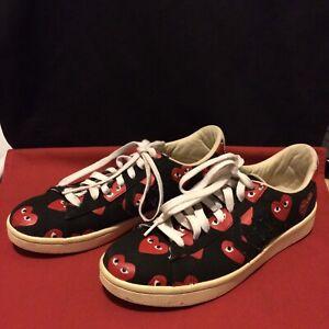 Converse x Play Comme Des Garcons Black Red Hearts Shoes Men's 10  Woman's 11.5