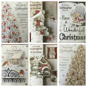 "GODDAUGHTER CHRISTMAS CARD 7.5""X5.5""  (F15)"