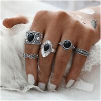 5pcs Ring Set Retro Vintage Antique Natural Black Stone Finger Women's Jewelry F