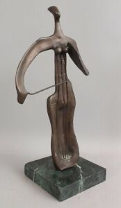 Vintage Mid-Century Modernist Surreal Bronze Sculpture, Cello Cellist Musician