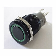 LAMPTRON 19mm Vandal Resistant Illuminated (Green) Momentary Switch