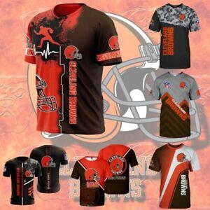 Cleveland Browns Men Football T-shirt Summer Casual Short Sleeve Tee Tops S-5XL