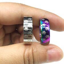 1pcs Cat Dog Paw Ring Stainless Steel Rainbow Anime Pet Finger Rings Gift
