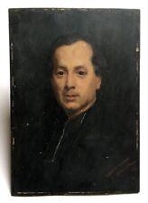 Tableau ancien signé Shonborn 80, Huile sur panneau, Portrait d'homme, XIXe
