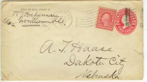 1909 Centralia Illinois flag cancel 2ct PSE uprated - Woodlawn Illinois