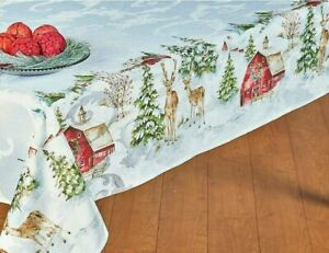"""Christmas Holiday Tablecloth Country Farmhouse Tablecloth 60""""x84 OVAL Watercolor"""
