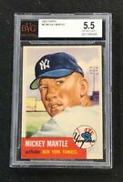 New York Yankees Mickey Mantle 1953 Topps #82 BVG 5.5 Ex+ PSA Well Centered