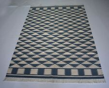 Hand Woven Modern Abstract Design Blue Color Cotton Kilim Area Rug 4x6 Feet