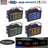 4pcs Waterproof DC Voltmeter 2.5-30V 0.56'' LED Digital Display Volt Meter Gauge