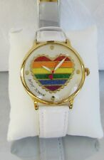 Betsey Johnson Glitter Rainbow Heart Watch White Patent Embossed BJ00496-40 NWT