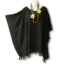 Solid Black Embroidery Plus Size Kaftan Beachwear Batwing Poncho Tunic- up to 5X